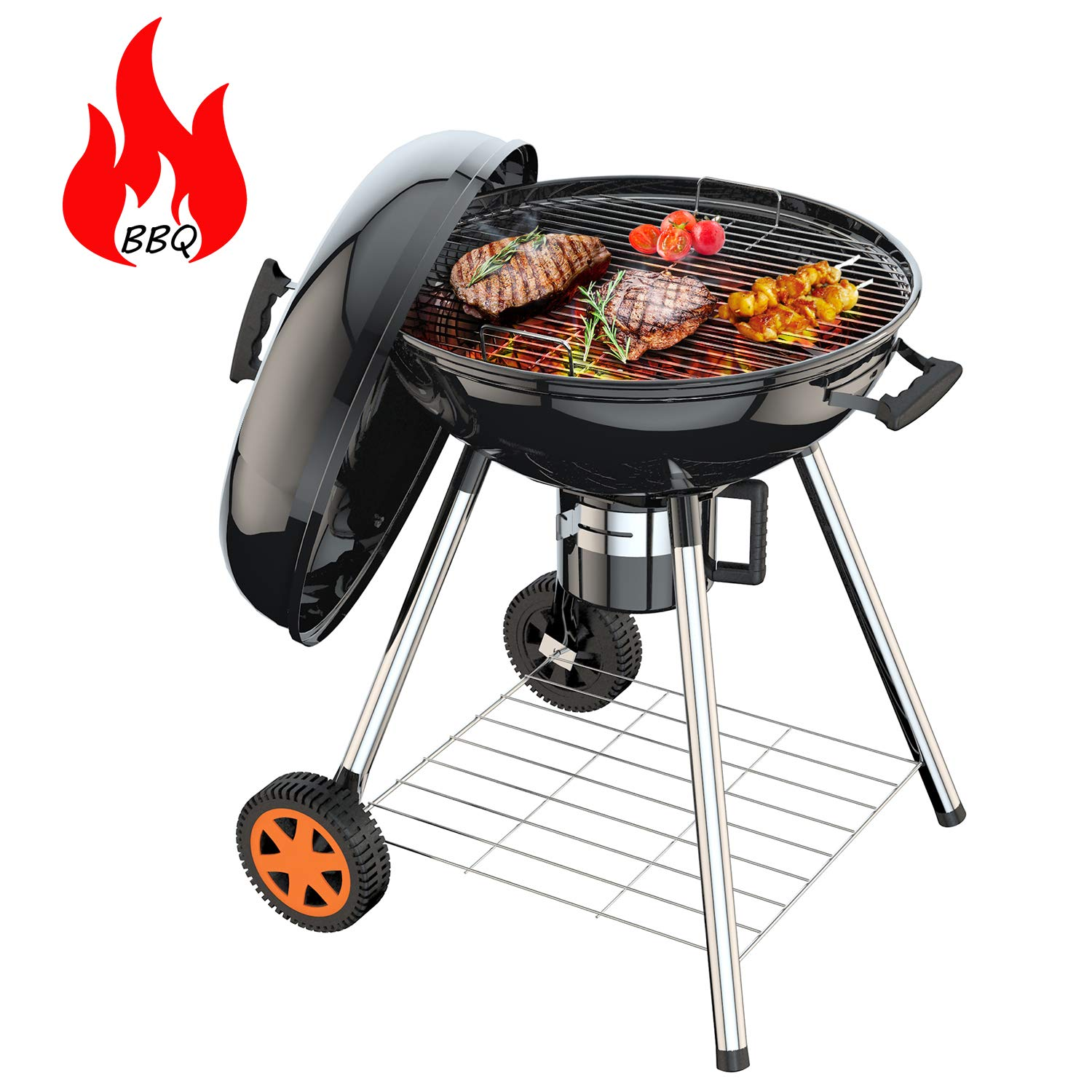 TACKLIFE Charcoal Barbecue Grill, CG02A, 22.5-Inch Charcoal Grill, BBQ Grill with Lid, 23.6-Inch High, Outdoor for Camping by TACKLIFE