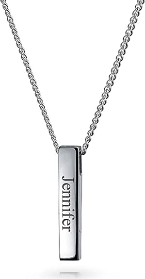 chain 18 inch Free Engraving Men Bar Pendant Sterling Silver Necklace Personalized Custom Engraved Name or Words