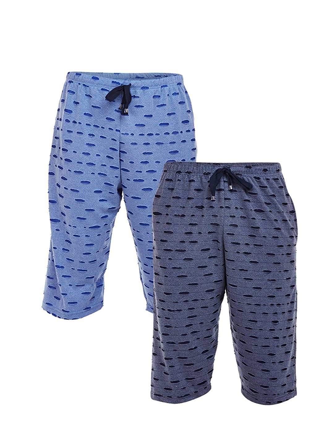 58fd0329845128 VIMAL Ripped Look Navy Blue and Sky Blue 3 4th Capri for Men(Pack of 2)   Amazon.in  Clothing   Accessories