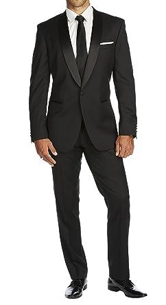 d44399b38a0 Braveman Slim Fit Solid Black One Button Tuxedo Tux Suit With Shawl ...