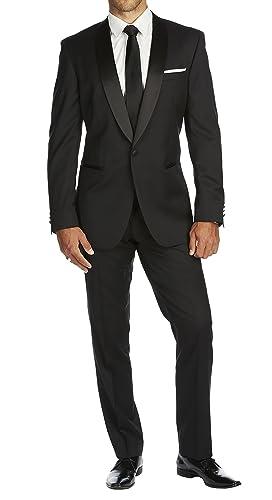 188ba82efe6 Braveman Slim Fit Solid Black One Button Tuxedo Tux Suit With Shawl Lapel  at Amazon Men's Clothing store: