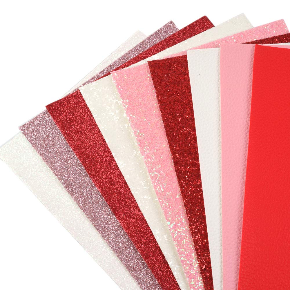 for Earrings Hair Bow Making David Angie 9 PCS Red Pink Series Glitter Leather Sheet Litchi Grain Leather Sheet Assorted Valentines Day Theme Faux Leather Sheet 7.9 x 13.4 20 cm x 34 cm Red