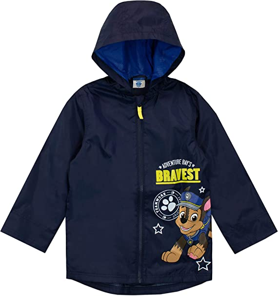 PAW PATROL BOYS Chase and Marshall Stripe Raincoat Jacket and Pouch