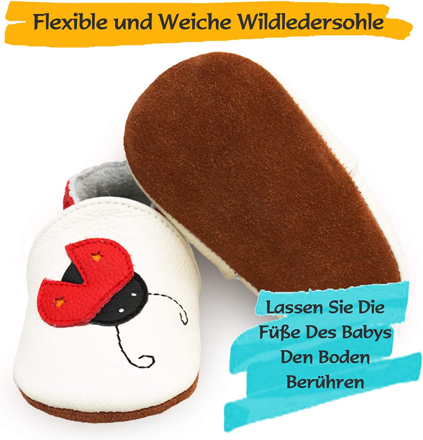 BAOLESEM Baby First Walking Shoes Boys Girls Soft Leather Crawling Shoes Toddler Baby Slippers Non-Slip Suede Soles