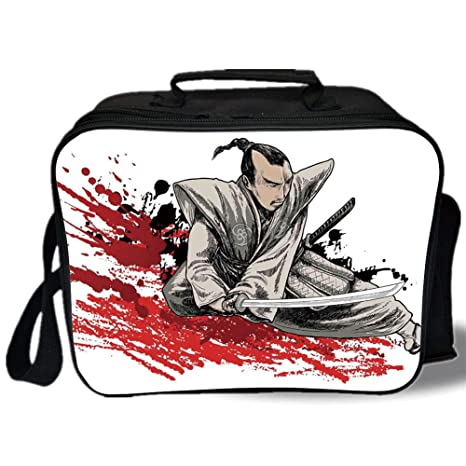 Amazon.com: Insulated Lunch Bag, Japanese, Warrior Holding a ...