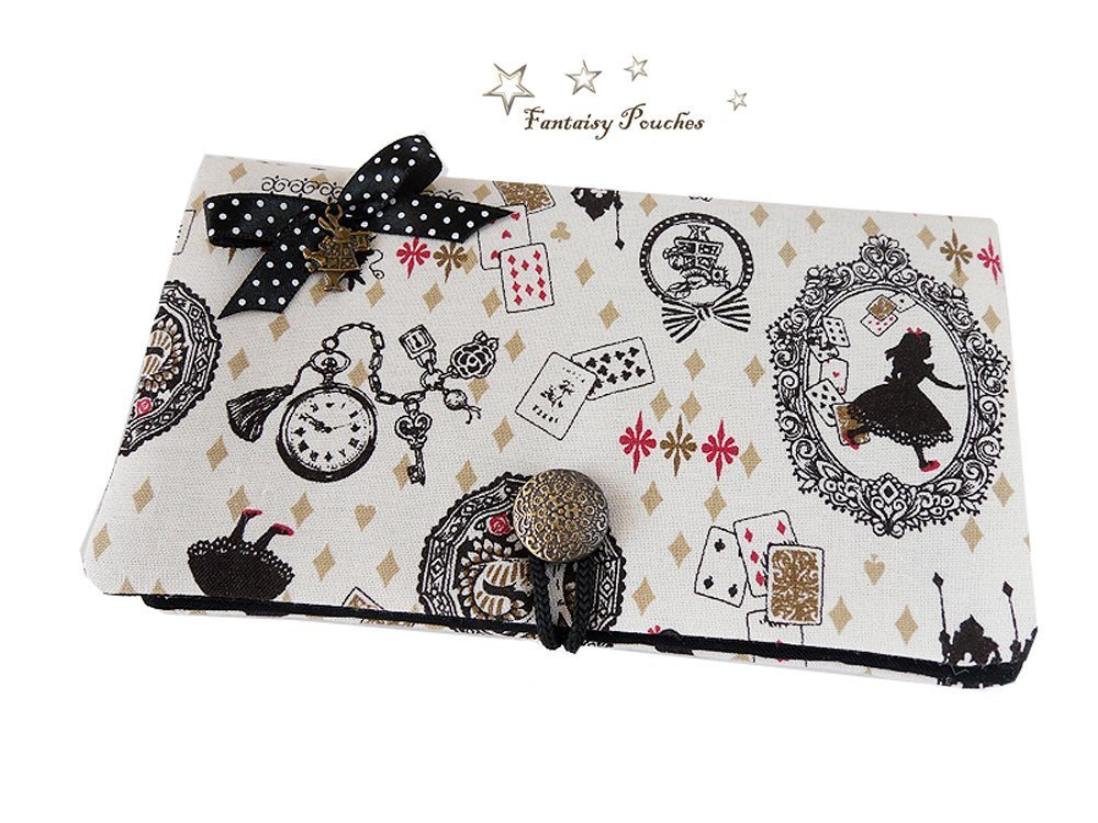 Pochette portable grande taille  Alice au pays des merveilles  tissu doré noir lapin blanc cadeau Noël