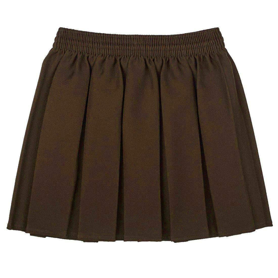 Fashions island Girls Black Grey Navy Box Pleated Skirt Kids All Round Elasticated Mini Skirt
