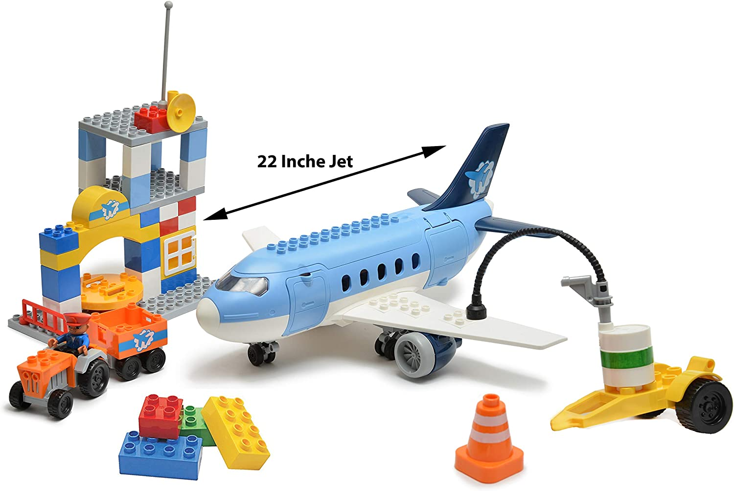 My First Preschool Airport Passenger Terminal With Airplane Jumbo Jet Building Bricks Set - Compatible with Duplo and all major brands