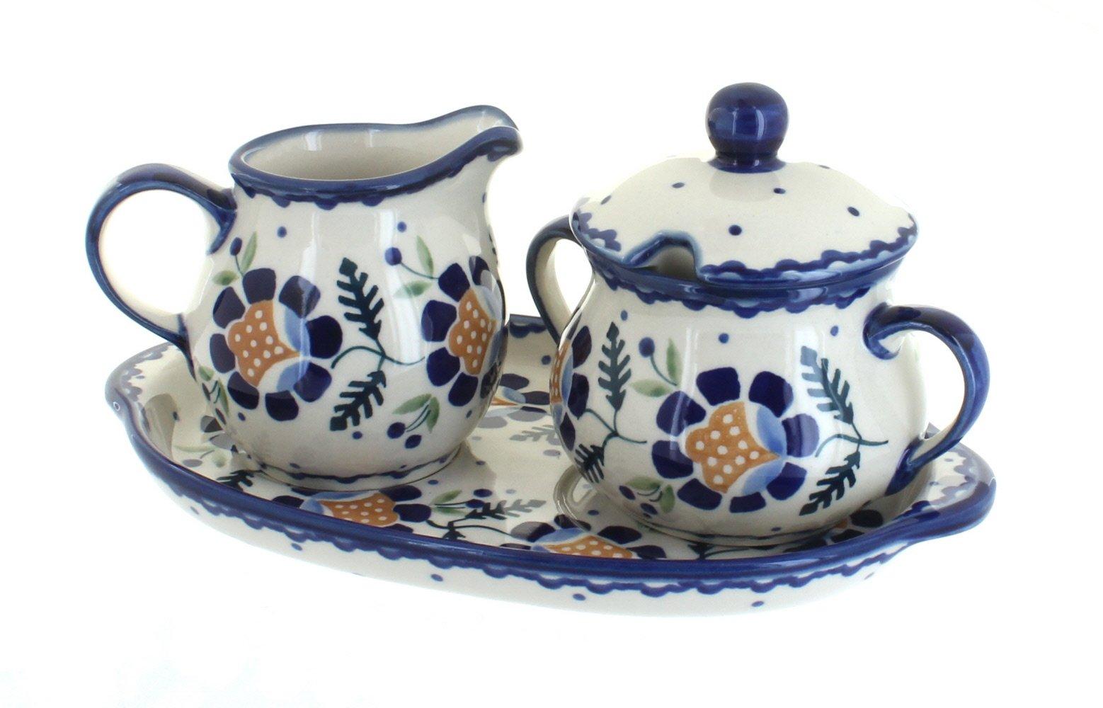 Blue Rose Polish Pottery Sunflower Sugar & Creamer Set with Tray