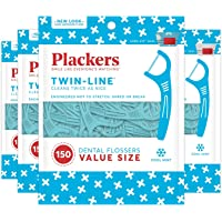 4-Pack Of 150-Count Plackers Twin-line Dental Floss Picks (Total 600-Count)