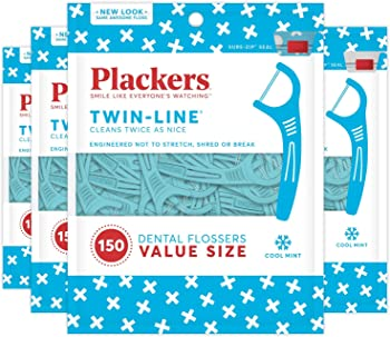 4-Pack Plackers Twin-line Dental Floss Picks