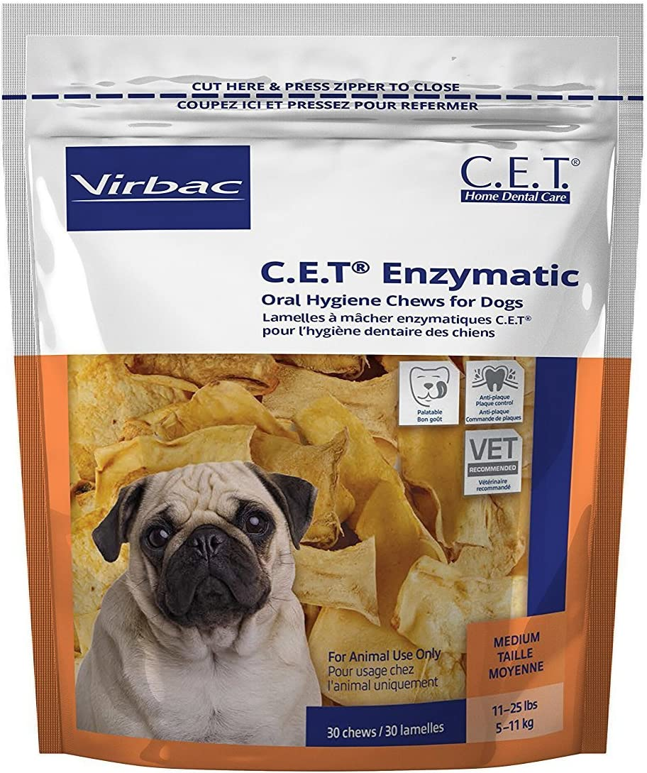 Amazon.com: Virbac C.E.T. Enzymatic Oral Hygiene Chews, Medium Dog, 30  Count: Pet Supplies
