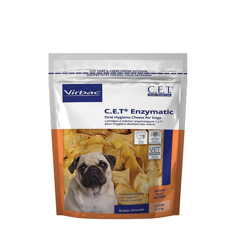 Virbac C.E.T. Enzymatic Oral Hygiene Chews for Medium Dogs, 30 Chews (1 Bag)