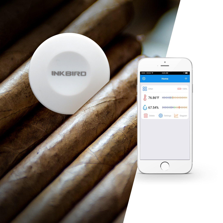 Inkbird Data Logger /°C ///°F Thermometer Hygrometer Bluetooth Humidity /& Temperature 35 mm x 10.5 mm Mini Smart Sensor