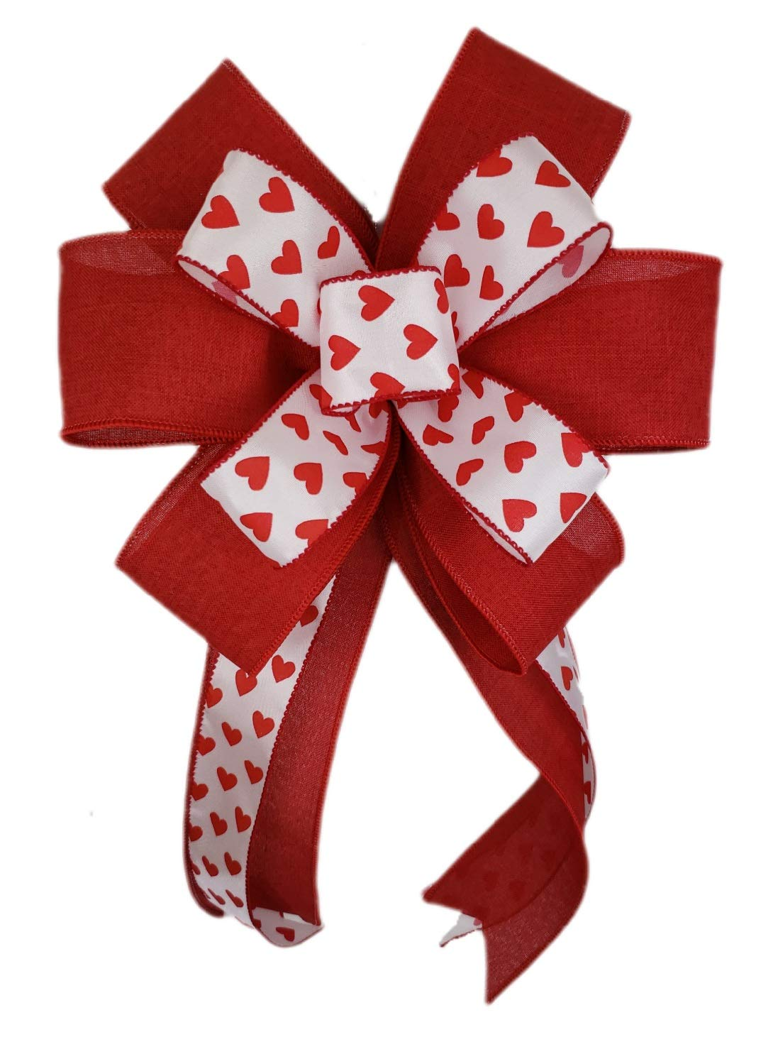 Valentines Day Red Pink Heart Plaid Bow for Wreath Gift Swag Lantern Basket Tree Door 10 x 18 inches