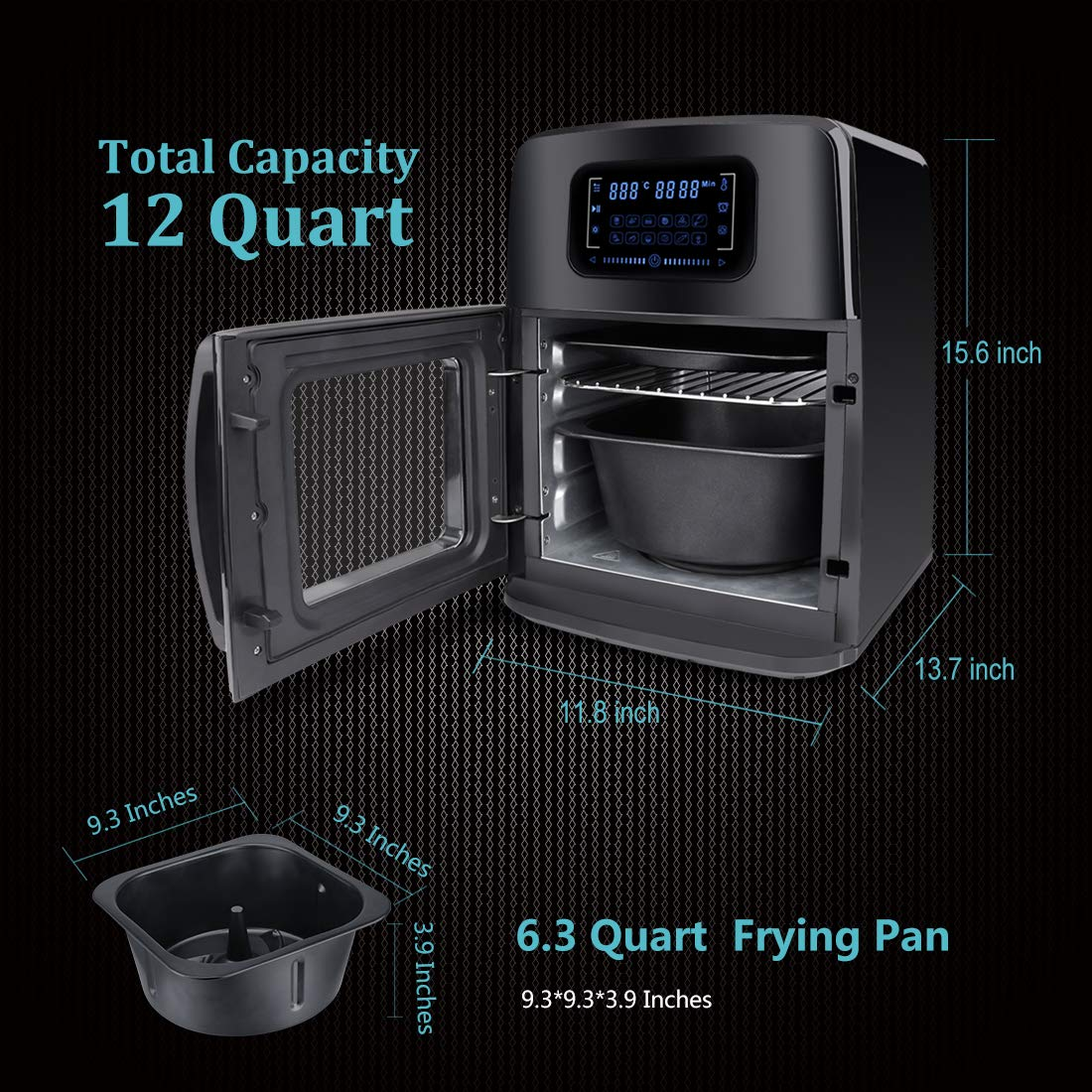 SARKI XL Fryer Viewing Window 12Qt Large Capacity, 6-Piece Programmable Air Oven with 12 Pre Settings Electric Hot Deep 6.3Qt Extra Fry Pan Inside-1700W /110V by SARKI (Image #5)