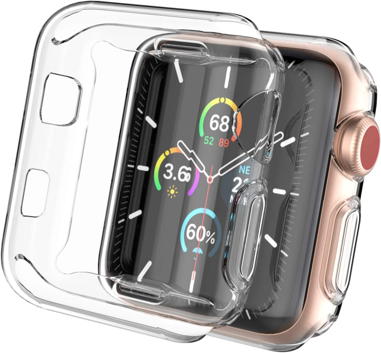 AhaStyle 2 Pack Ultra Clear iWatch Case Screen Protector Full Coverage Slim Case Cover Shockproof [Not Wateproof] Compatible with Apple Watch 38mm 42mm 40mm 44mm, iWatch Series SE/6/5/4/3/2/1(40mm)