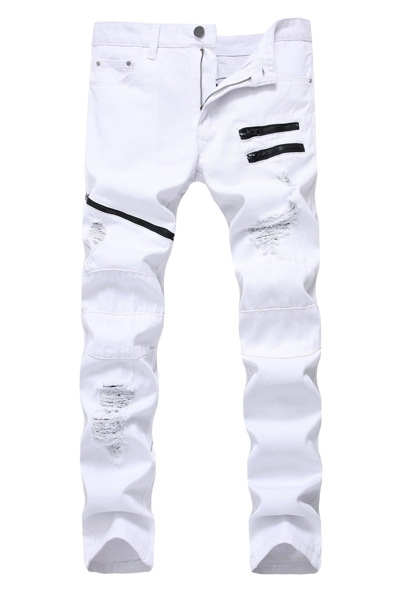 LAMCORD Men's Zipper Destroyed Ripped Skinny Slim Fit Stretch Holes Denim Jeans, White, W30