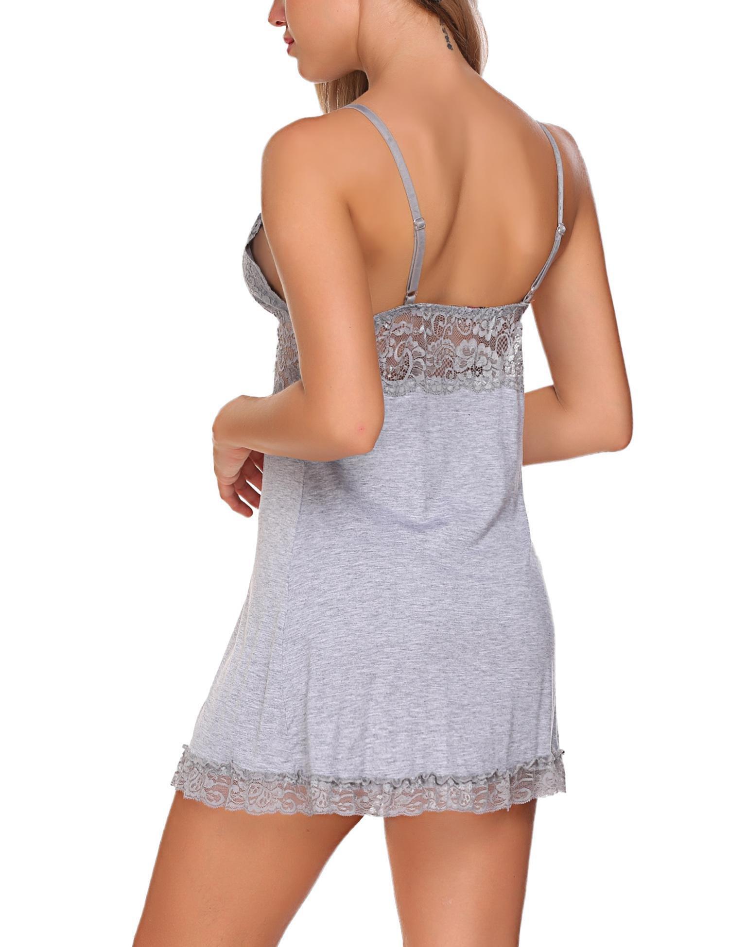 Avidlove Women Sexy Lingerie Slip V-Neck Chemise Nightgown Lace Babydoll Gray Small by Avidlove (Image #6)