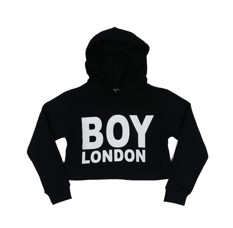 BOU London Felpa Corta Nera con Scritta Bianca XXX: Amazon