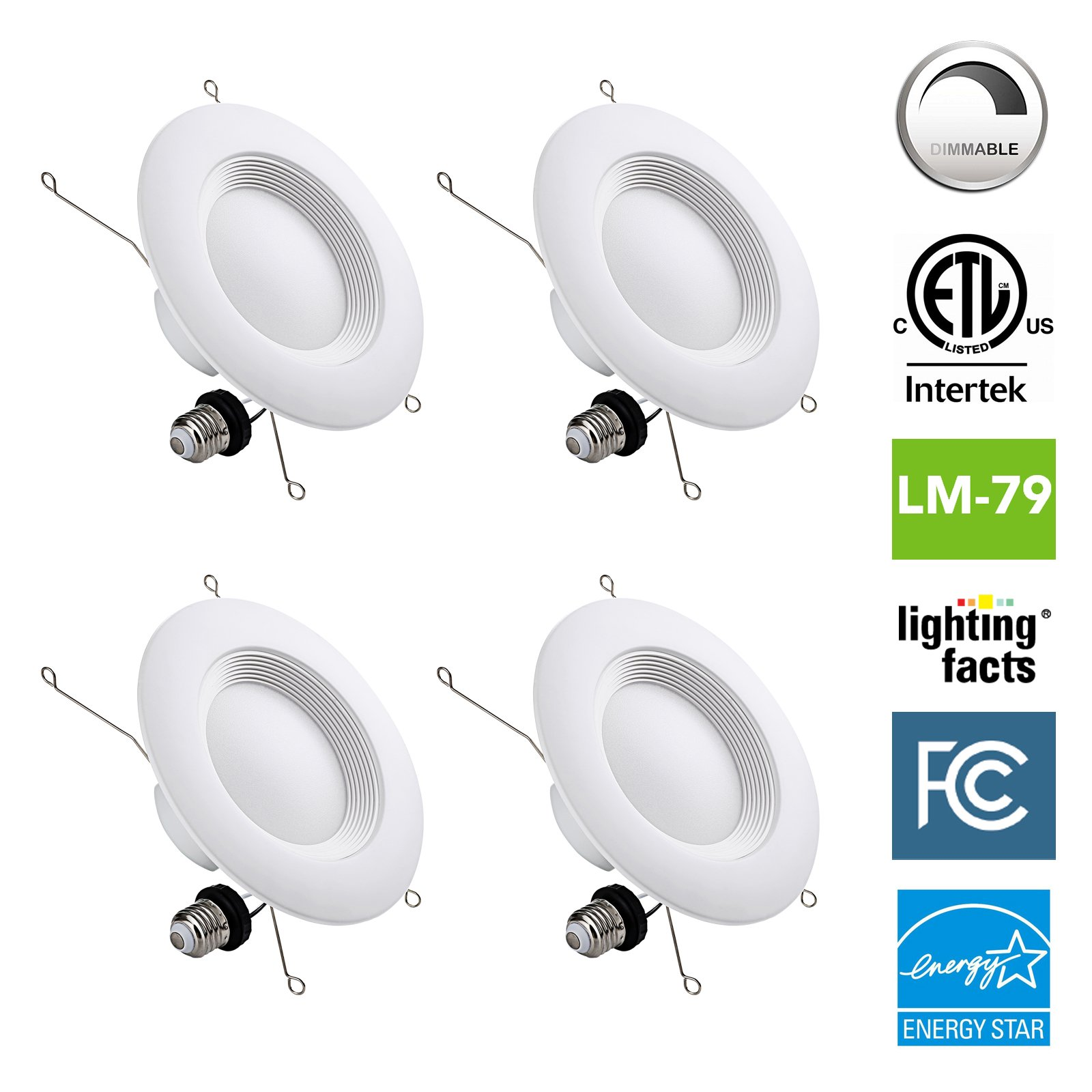 NASUN 5/6 Inch Dimmable LED Downlight, ENERGY STAR, ETL, FCC, 12W, CRI90+, Recessed Retrofit Downlight Lighting Fixture - (Pack of 4), 5 Year Warranty