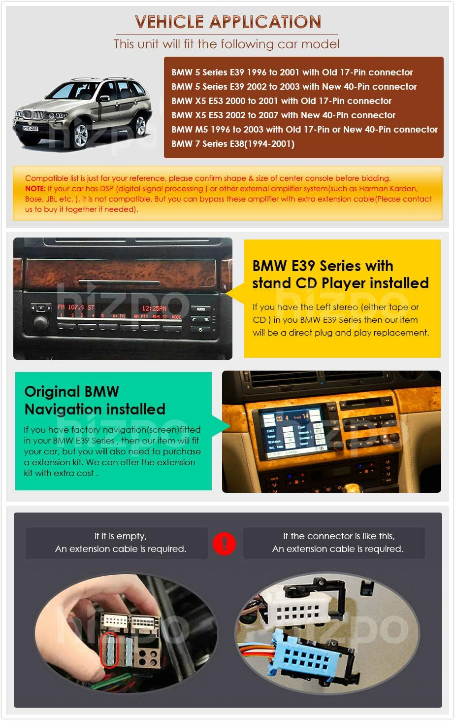 1999-2006 CARAV 11-041-3-67 2-DIN Marco de pl/ástico para Radio para BMW 5-Series E53 E39 1995-2003; X5