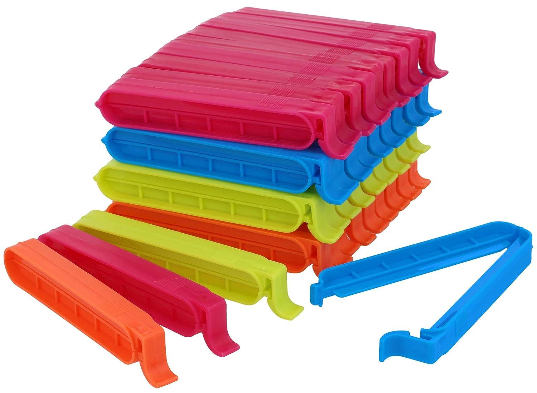 COM-FOUR® 40 bolsas para bolsas, bolsas para bolsas para congelar, tapas de cierre en diferentes colores - reutilizables (40 piezas - colorido)