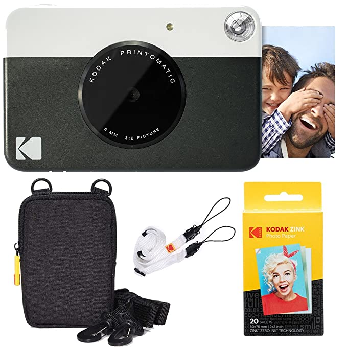 Amazon.com : Kodak Printomatic Instant Camera (Black) Basic Bundle + Zink Paper (20 Sheets) + Deluxe Case + Comfortable Neck Strap : Camera & Photo