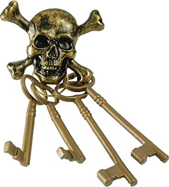 Captain Jack Sparrow Ship Fancy Dress Party Skull Pirate Gold Skeleton Keys