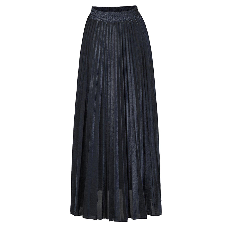 Misscat Women Pleated Maxi Skirt Retro Vintage Summer Beach Loose Flared Dress
