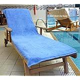 Bana Kuru Chlorine & Sun Resistant Sun Lounger Towel - Full length, 70cm Wide + 30cm Flap 500gsm - Med Blue