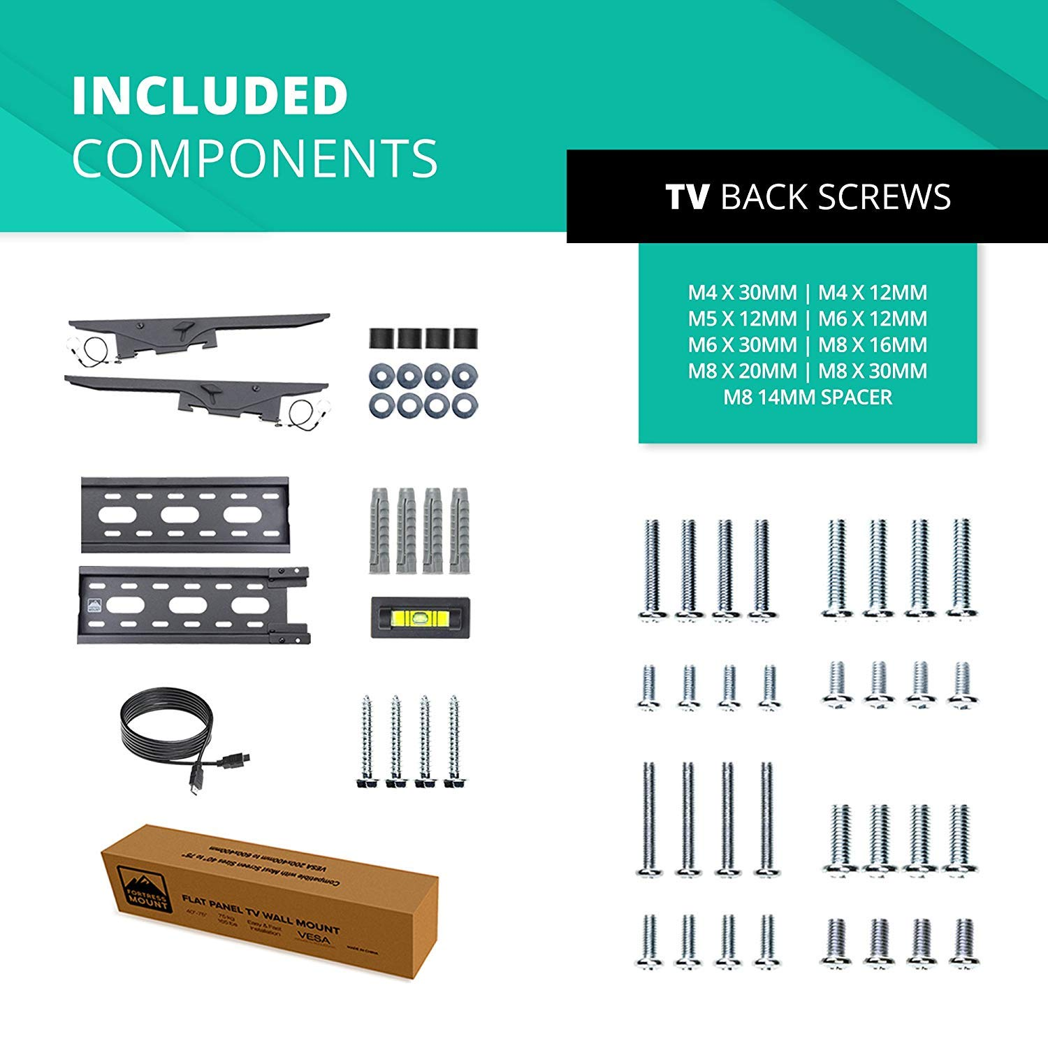 Fortress Mount TV Wall Mount for Most 40-75'' TVs up to 165 lbs and 9-feet HDMI Cable by Fortress Mount (Image #5)