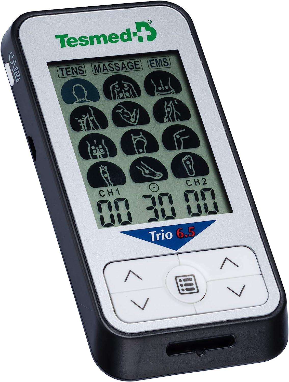 TESMED Trio 6.5 Electroestimulador Muscular con batería recargable, TENS, Masaje- 36 programas - 40 niveles de intensidad - 4 electrodos