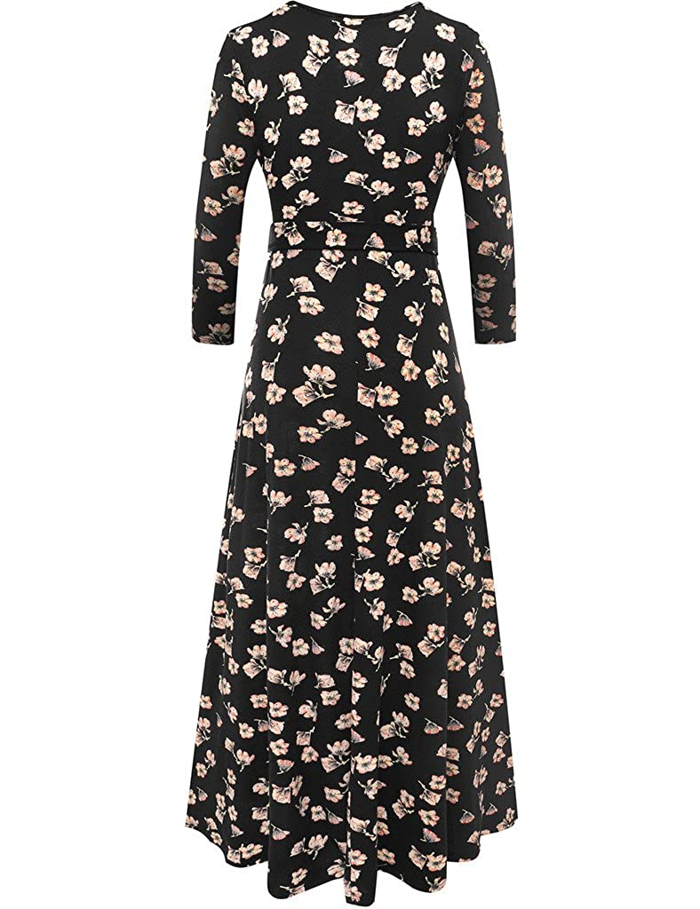 2560891f3ad2 Aphratti Women's Summer Casual Faux Wrap V Neck Floral Long Maxi Dress at  Amazon Women's Clothing store:
