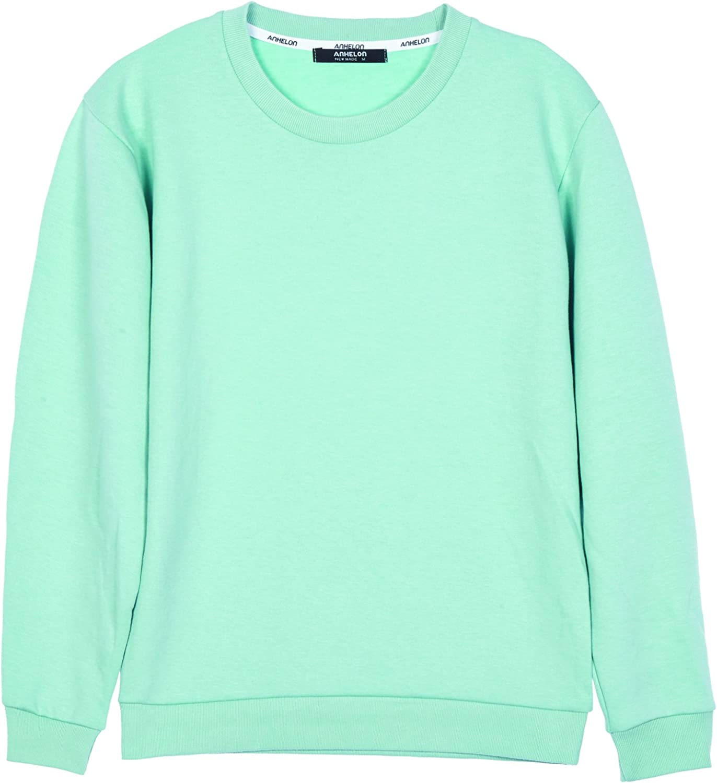 ililily Men Cotton Solid Color Simple Crew Neck Spring Pullover Sweatshirt Top