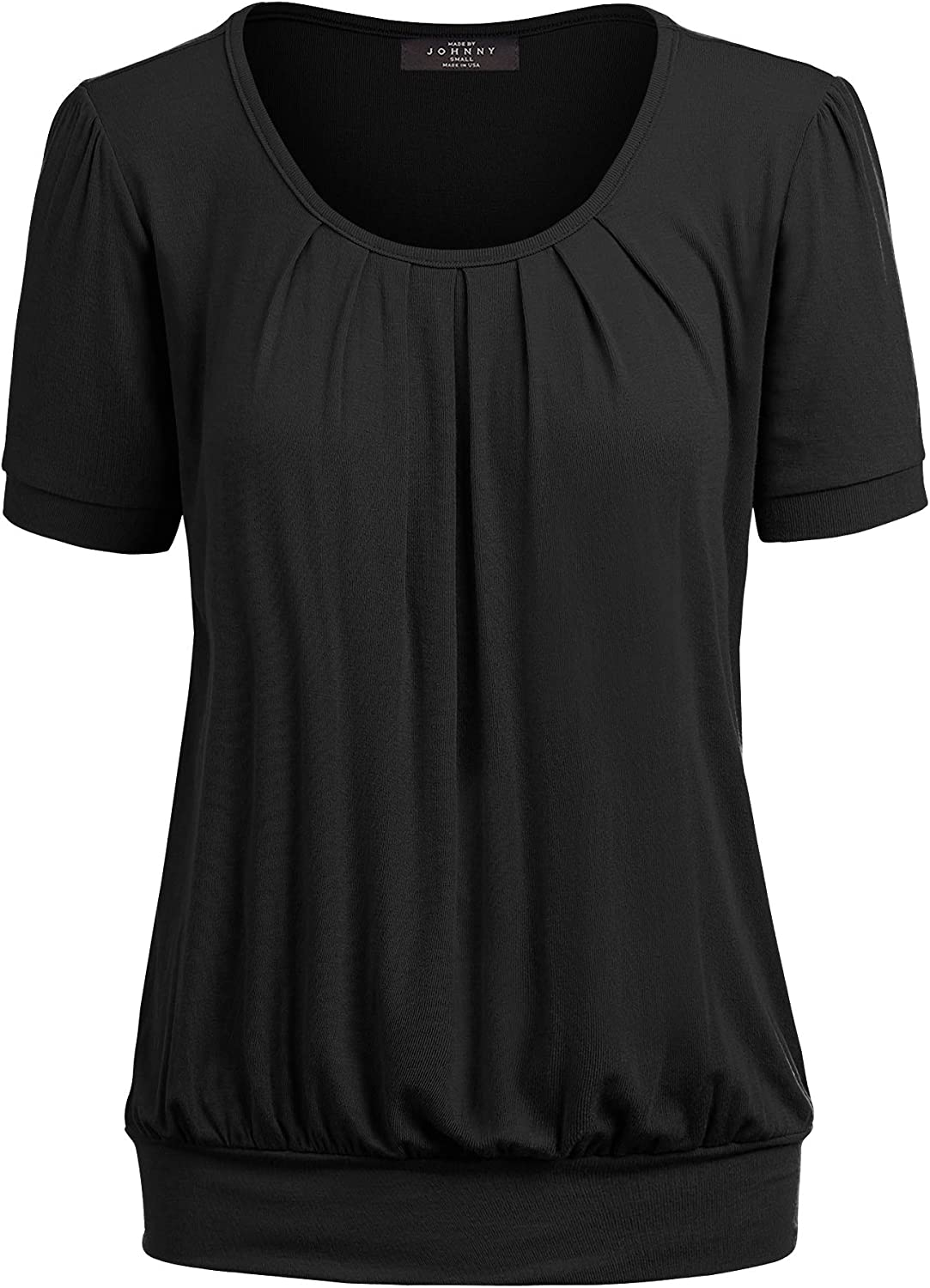 Made By Johnny Womens Scoop Neck Short Sleeve Front Pleated Blouse Tunic top S-3XL Plus Size Made in U.S.A.