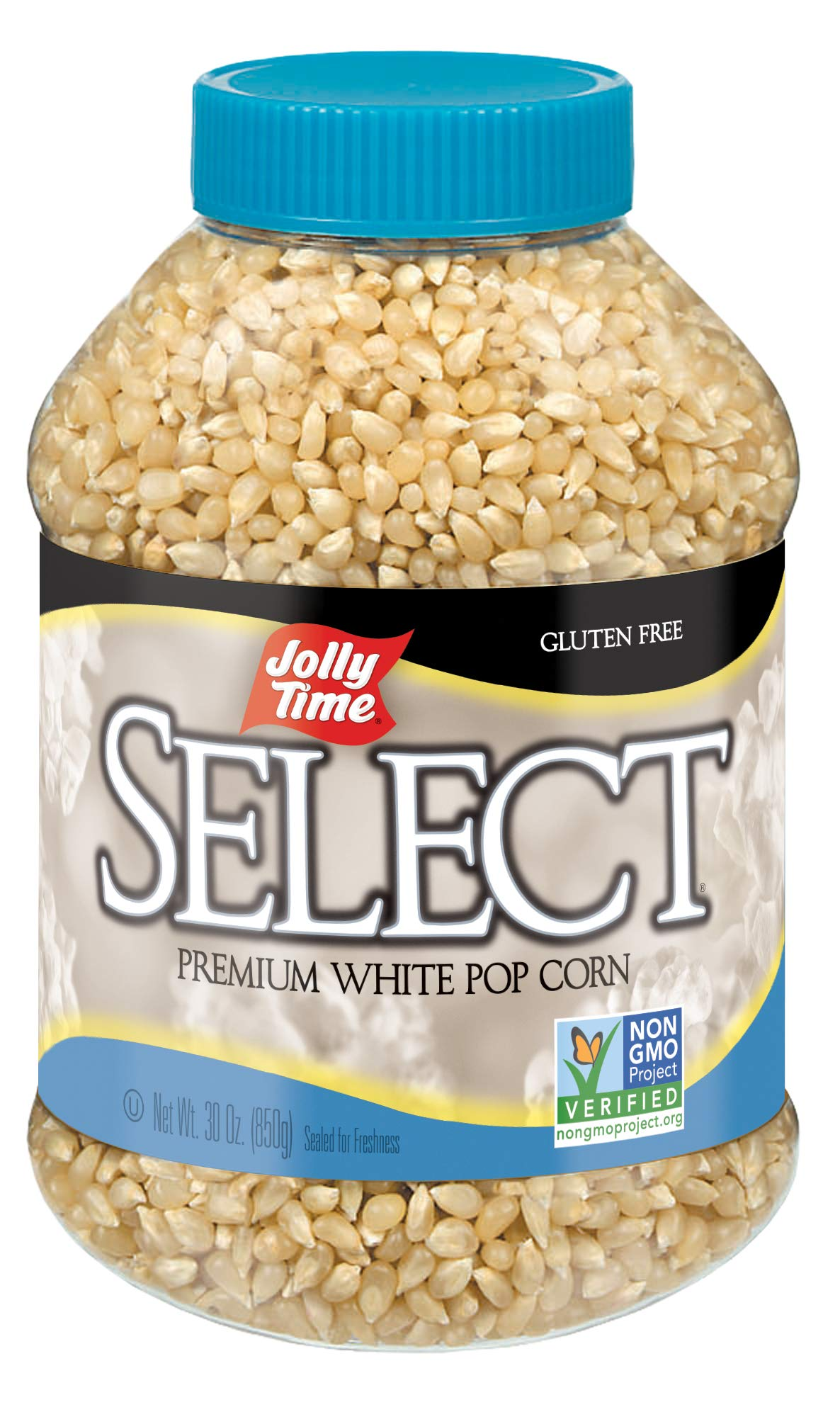 JOLLY TIME Select Premium White Popcorn Kernels - Whole Grain & Non-GMO, 30 oz Jars (Pack of 6) by Jolly Time