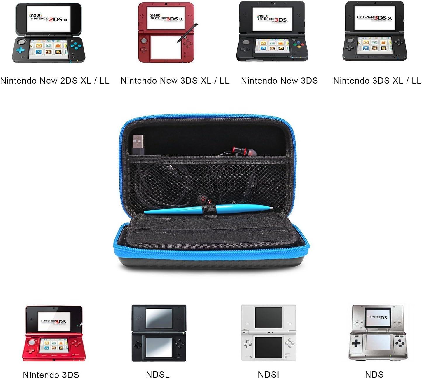 KINGTOP Nintendo 2DS XL Estuche Rígido Antichoque Funda Protector de Almacenamiento para la Nueva Consola y Accesorios Nintendo 2DS XL/LL / 3DS XL/LL, Negro y Azul: Amazon.es: Electrónica