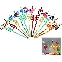 iwobi 12 stuks dierlijke krullende rietjes, herbruikbare krullend nieuwigheid rietjes voor kinderen verjaardagsfeestje