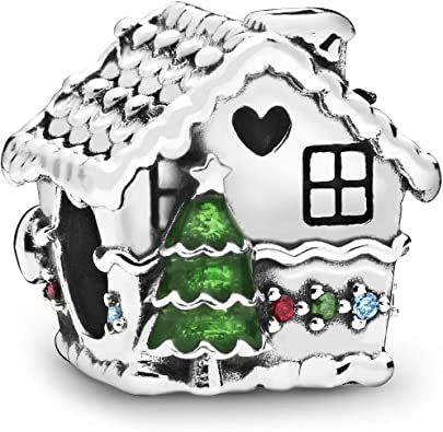 Gingerbread House 2D sterling silver charm .925 x 1 Sweets charms DKC12116