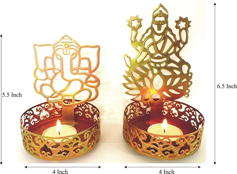 KITCHEN SUPPLIER Jodhpur Handicraft Shadow Diya of Laxmi ji Ganesh ji with 4 Tealight Candles as Corporate Gift, rituals, auspicious occasion