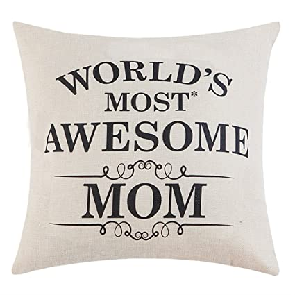 Anickal Mom Gifts Worlds Most Awesome Quote Print Pillow Covers 18 X Inch For