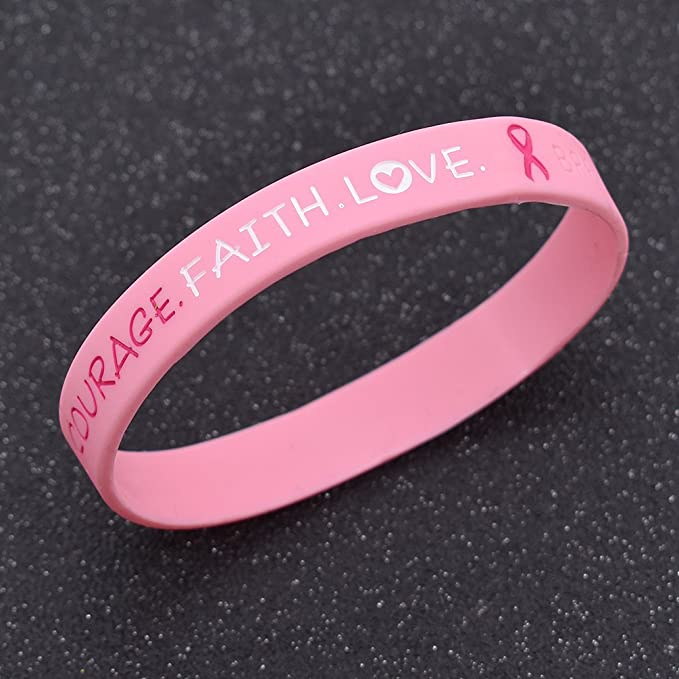 Brustkrebs Bewusstseins Silikon Armbänder Hope Faite Courage Bracelet Schmuck