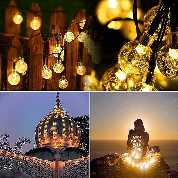Jardines 2 Pieces Guirnalda Luces Exterior Solar 10M 100LED Luces Solares Exteriores Jardin Clase de eficiencia energ/ética A+++ 8 Modos Cadena de Luces Decoracion Impermeable para Navidad