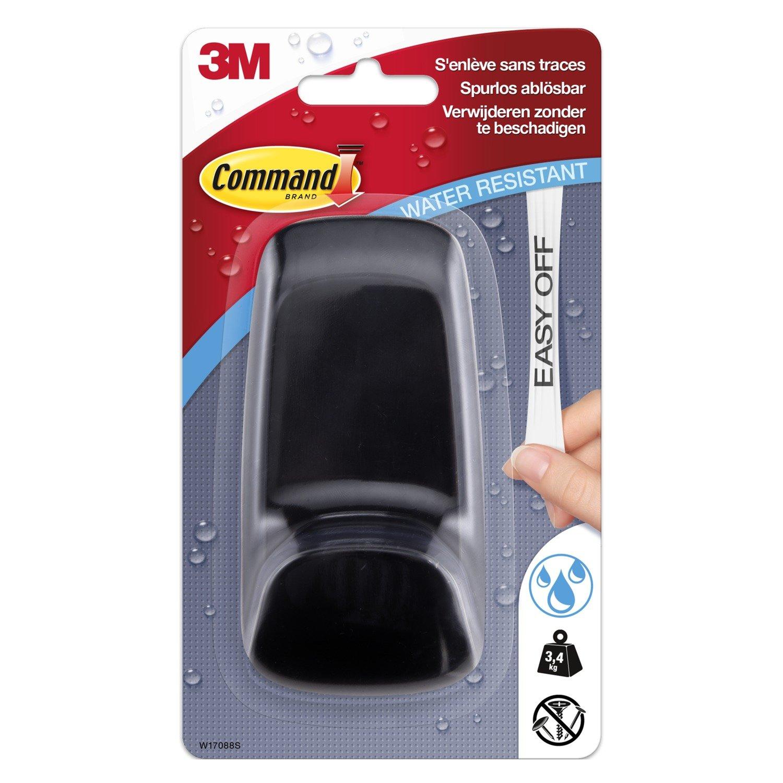 Command - Gancio impermeabile S di plastica, Ovale, 1ganci + 2 strisce adesive, Bianco, L 3M Deutschland GmbH W17083