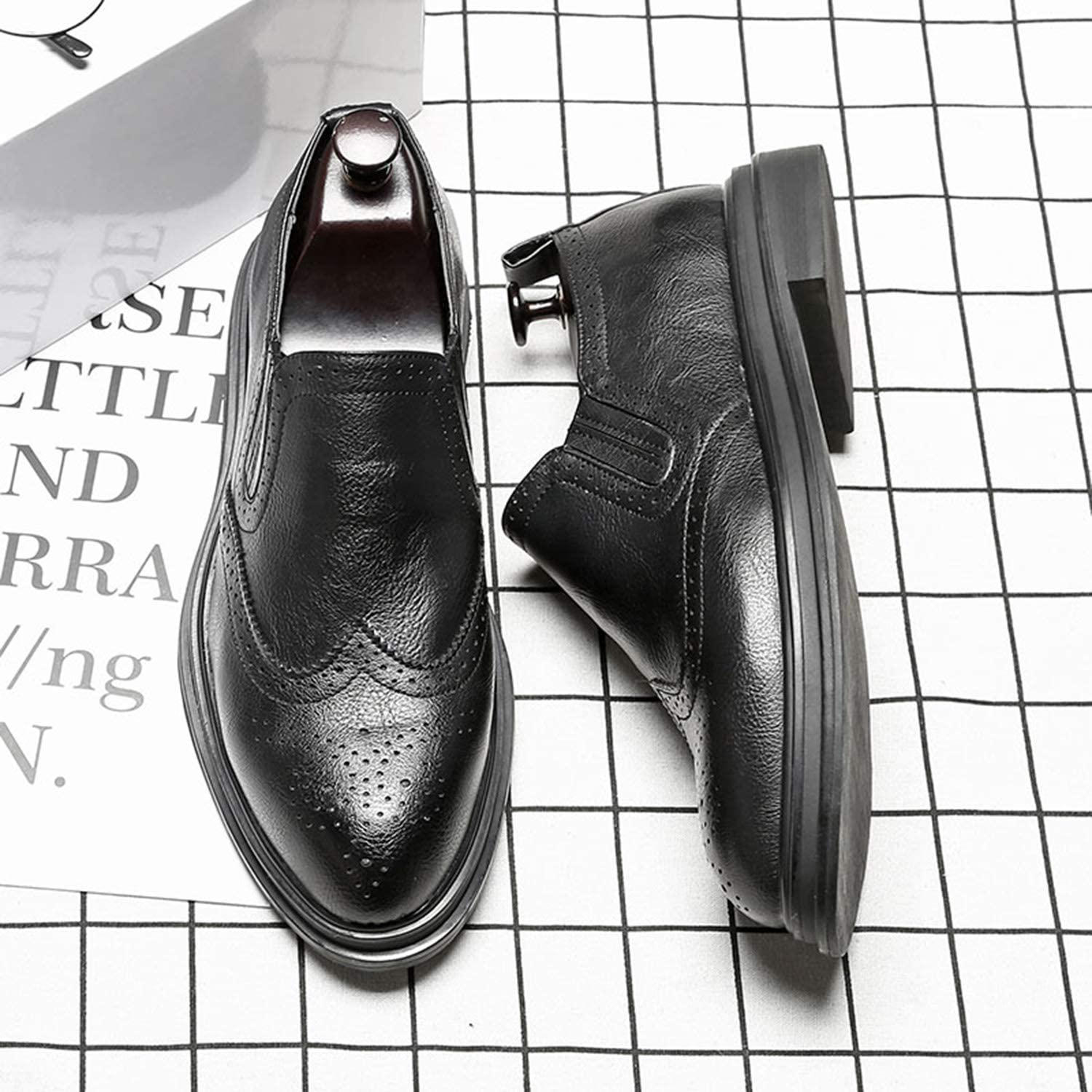 Duckmole Loafer for Men Leather Slip on Business Casual Pointed-Toe Mid-Heel Black Brown Grey Size 6-10