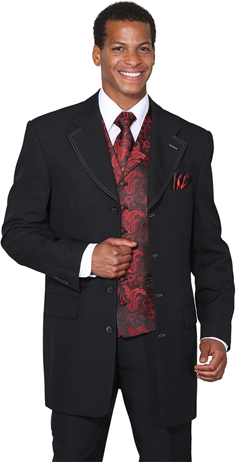 Milano Moda Single Breasted,Double Vent, Fashion Suit with Vest, Tie & Hankie