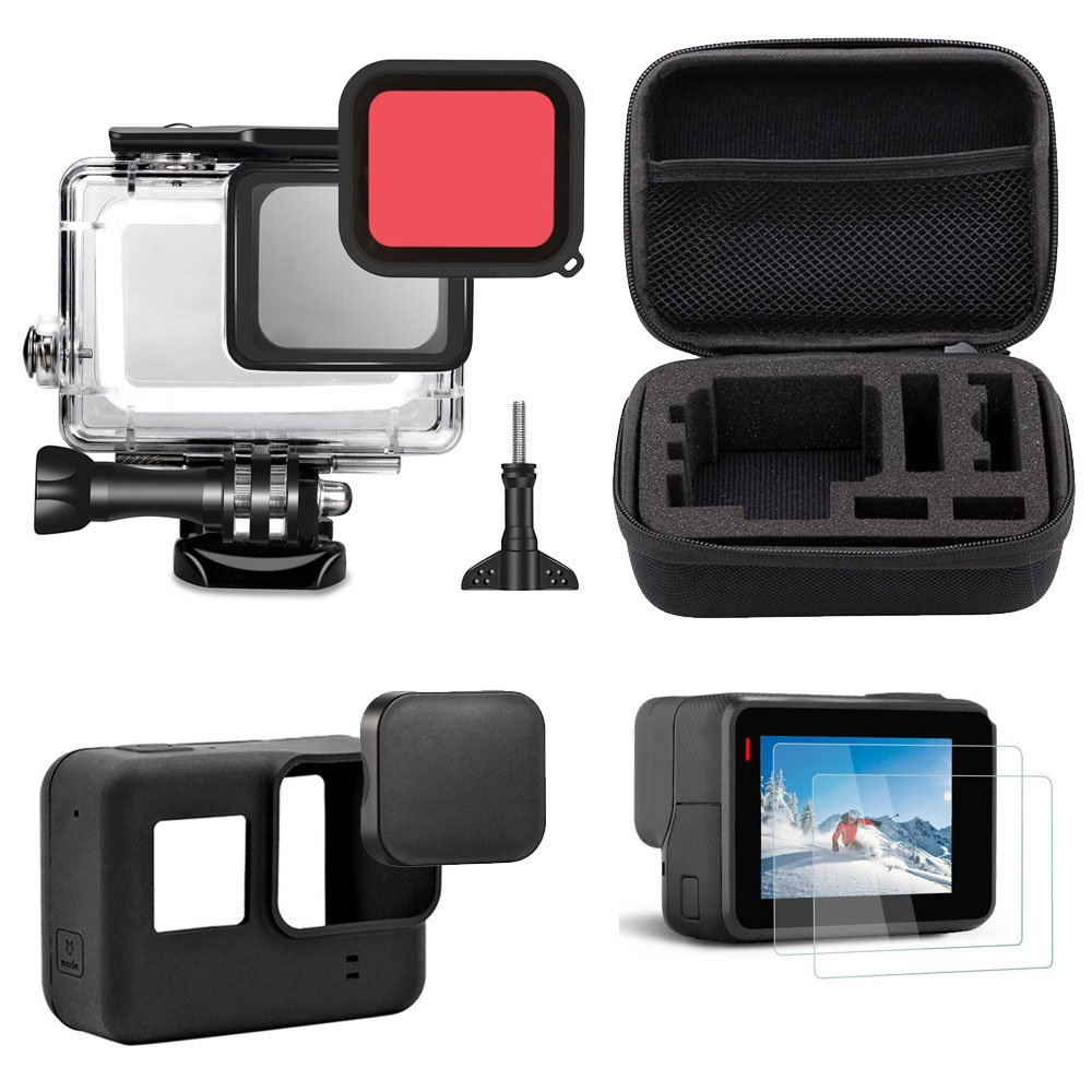 TEKCAM Accessories Kit Shockproof Small Travel Case Bundle Compatible GoPro Hero 6 Hero 5 Black Outdoor Sport Camera Kit as a Gift