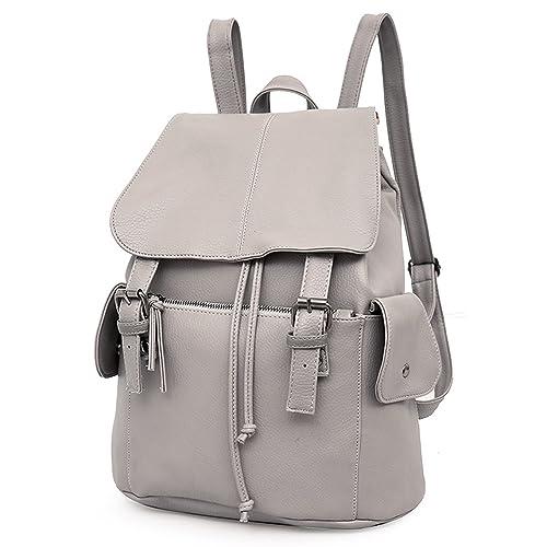 Outreo Mochilas Escolares Mujer Bolso Cuero Bolsos Mochila de Viaje bolsos de Piel para Colegio Vintage PU Casual Bag: Amazon.es: Zapatos y complementos