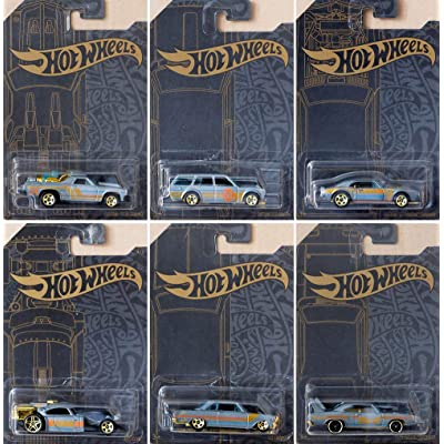Hot Wheels 51st Anniversary Satin & Chrome Series Set of 6 Cars, Custom '71 El Camino, 71 Datsun 510 Wagon, Custom '67 Pontiac Firebird, Aristo Rat, 63 Chevy II: Toys & Games
